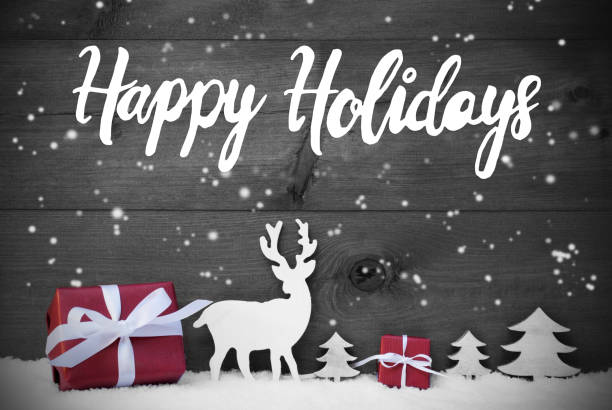 reindeer, gift, tree, snowflakes, happy holidays, snow - happy holidays stock pictures, royalty-free photos & images