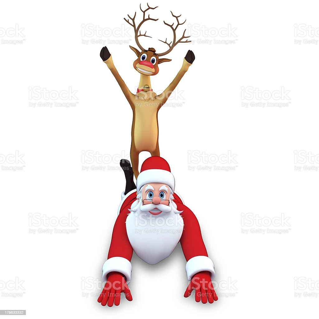 reindeer is sitting on the santa stock photo