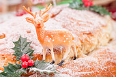 Reindeer on a Christmas stollen close up