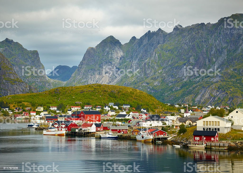 Reine fishing village.  Lofoten Islands, Norway stock photo