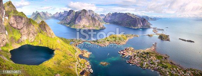 Fishing village of Reine, aerial view from Reinebringen, Lofoten, Norway