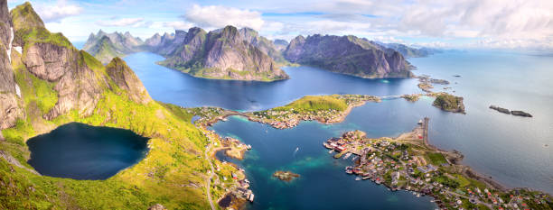 Reine from Reinebringen stock photo