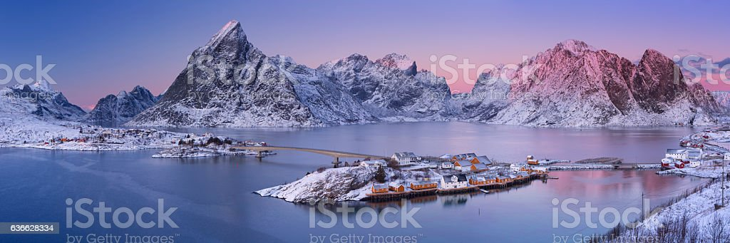Reine on the Lofoten islands in northern Norway in winter stock photo