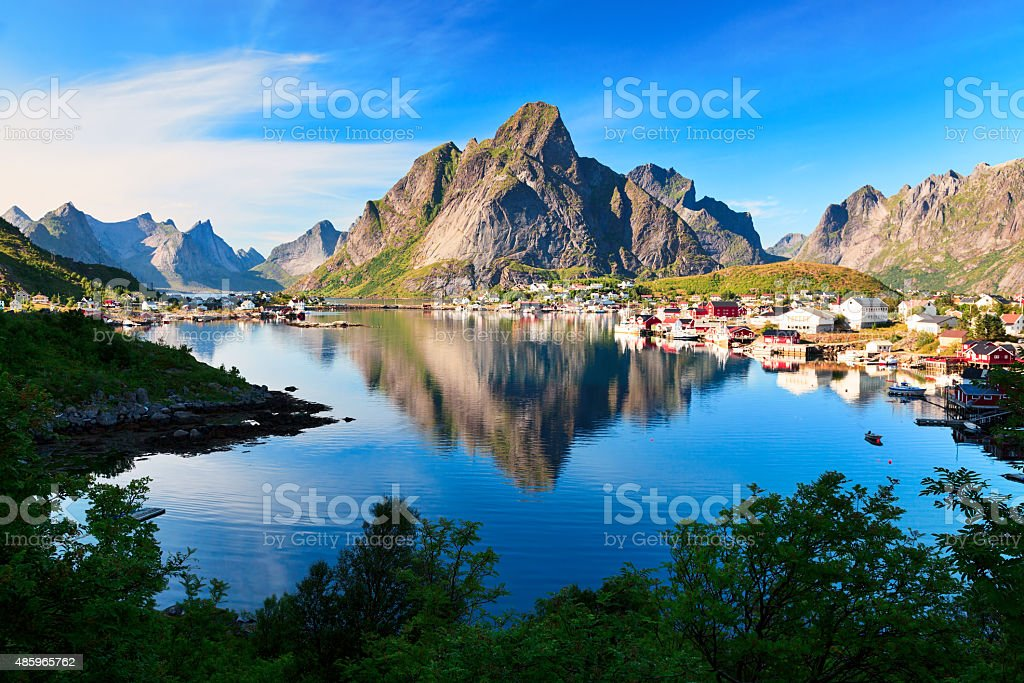 Reine, picturesque Norwegian fishing village in Lofoten Islands stock photo