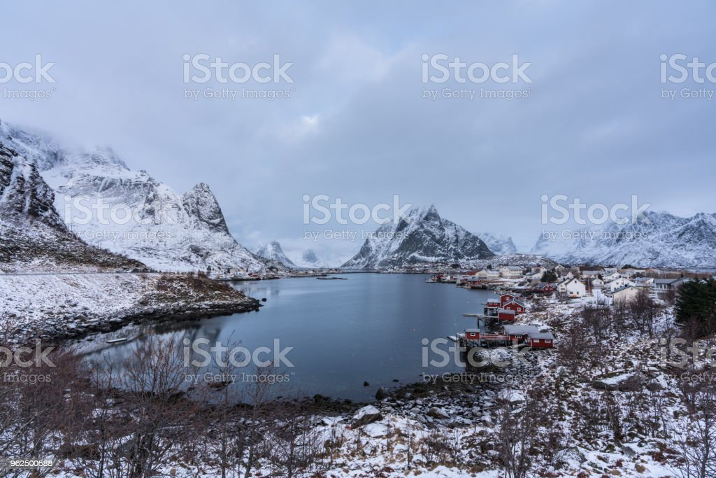 Reine village covered with snow one of the most beautifu landmark in Lofoten,Norway - Royalty-free Adulation Stock Photo