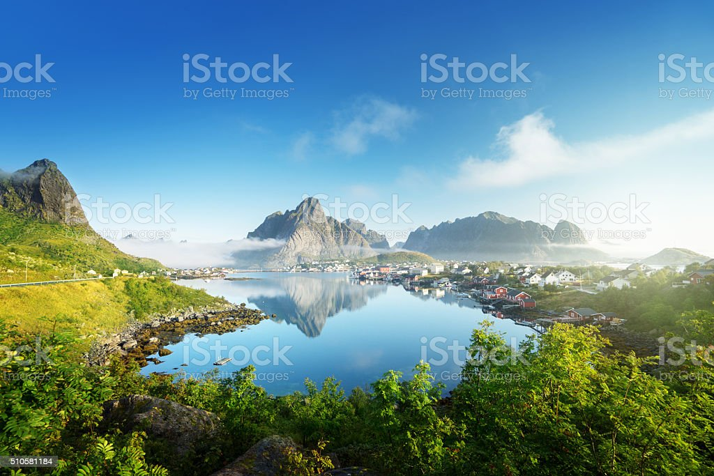 Reine Village, Lofoten Islands, Norway stock photo