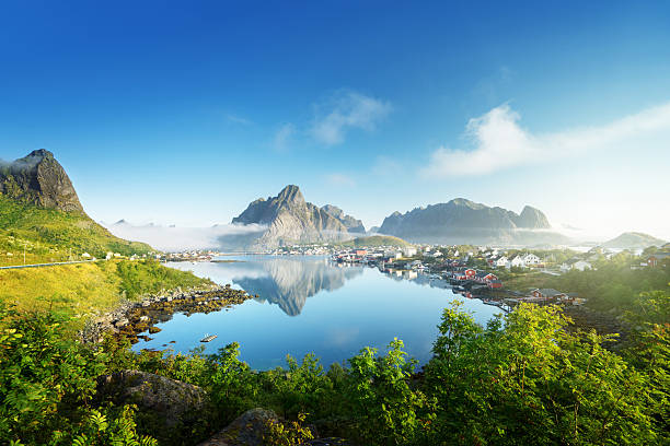 reine village, lofoten islands, norway - fjord stock photos and pictures