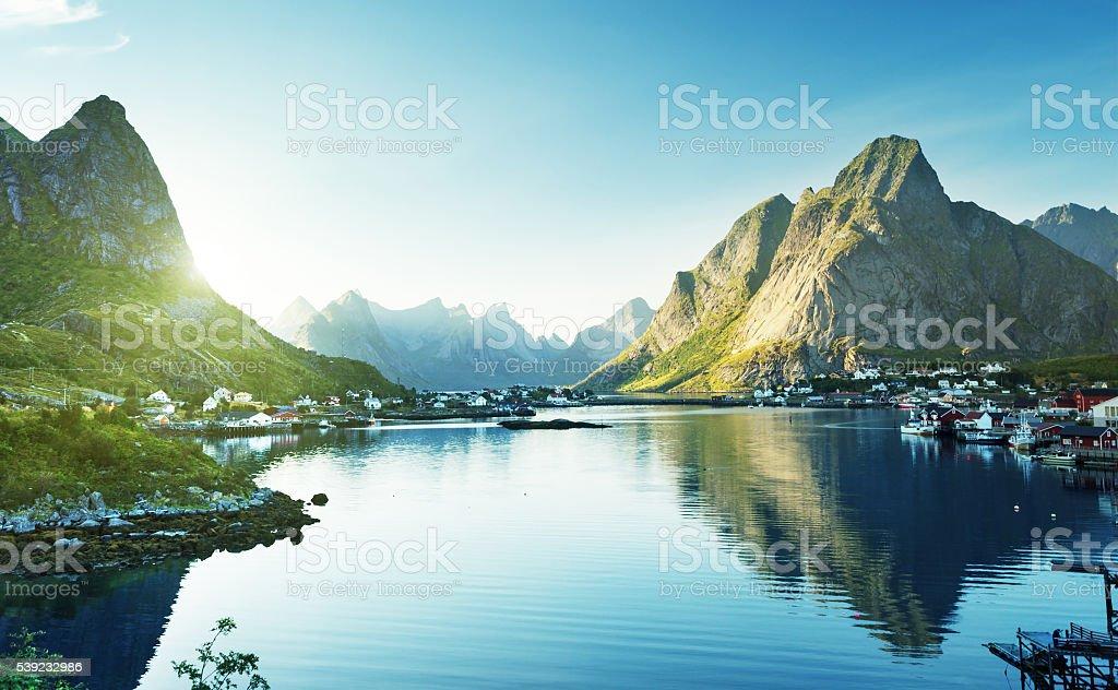 Reine Village, Lofoten Islands Norway foto de stock libre de derechos