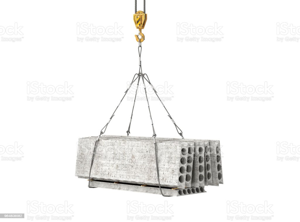 reinforced concrete block on the crane 3d illustration royalty-free stock photo