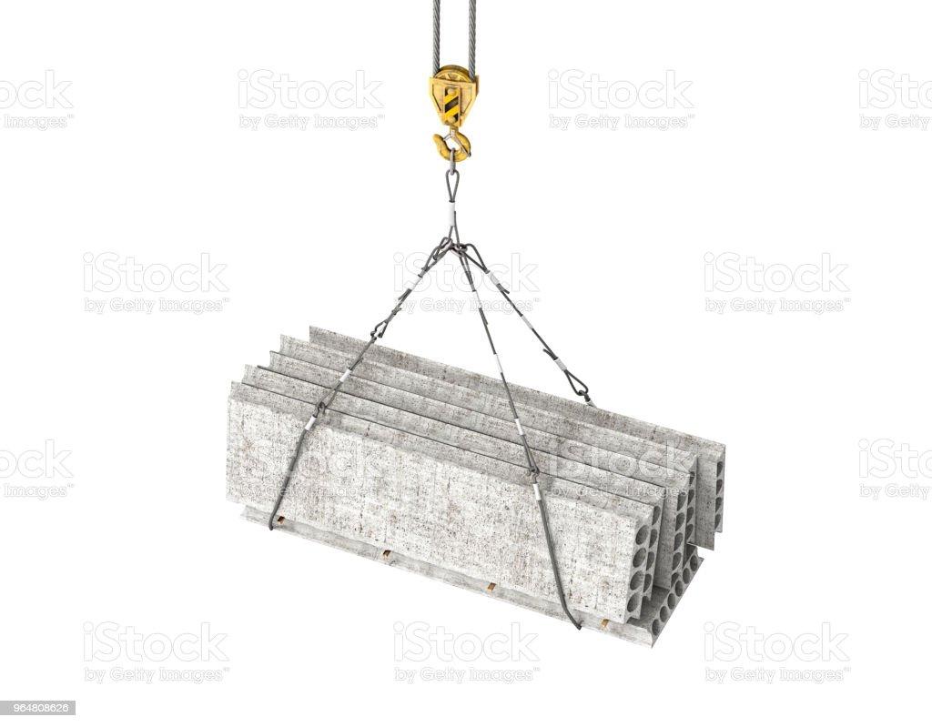 reinforced concrete block on the crane 3d illustration royalty-free stock photo