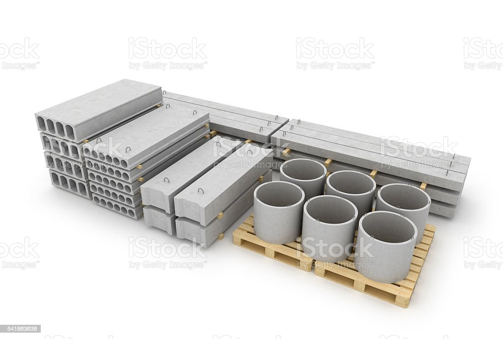 Reinforced concrete items stock photo
