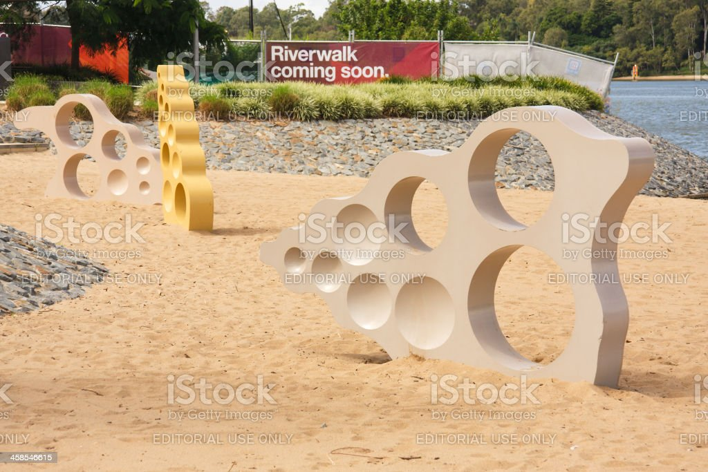 Reinforced concrete shell sculptures on the beach royalty-free stock photo