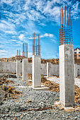 Reinforced steel bars on construction pillars, concrete details and beams