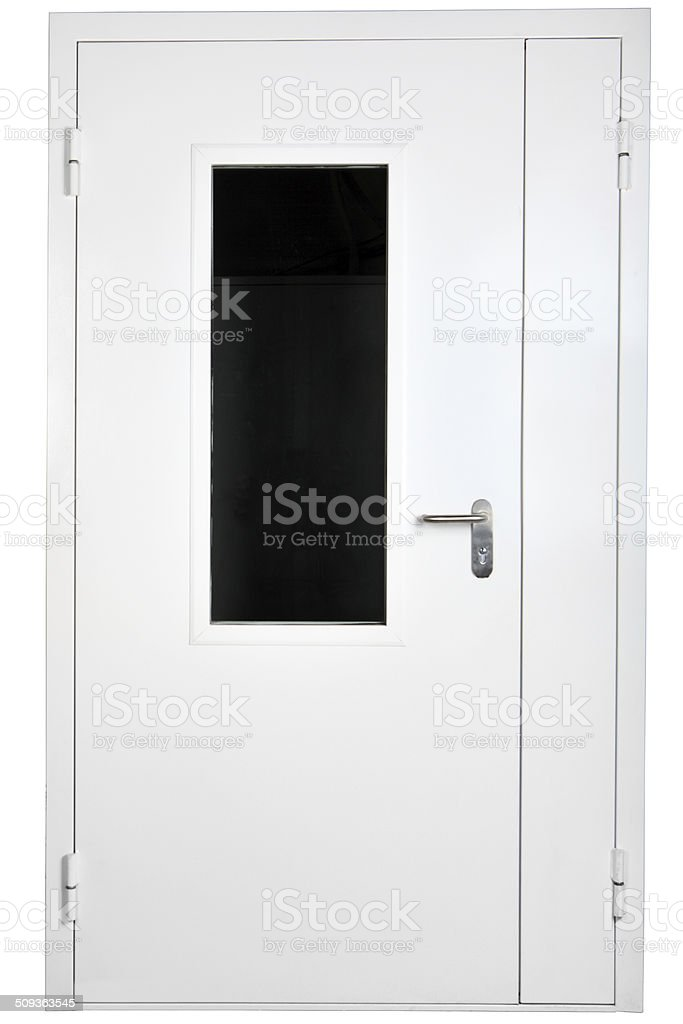reinforced steel door with glass, isolated over white stock photo