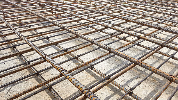 Reinforcement metal framework. Reinforcement metal framework for concrete pouring. Ready for filling up with concrete. rod stock pictures, royalty-free photos & images