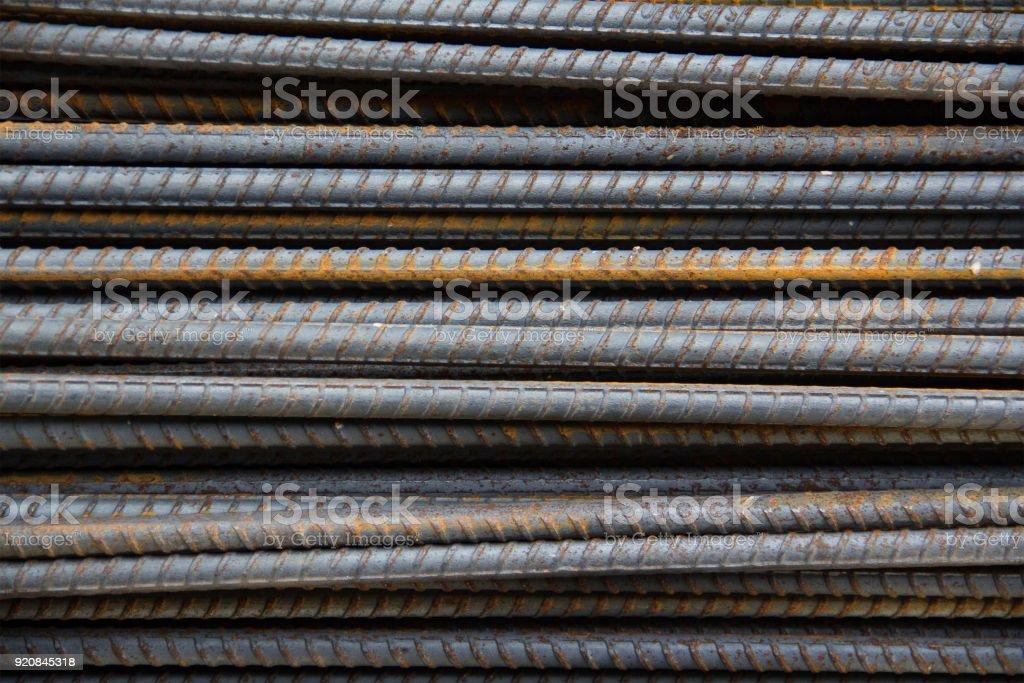 Barres d'armature en acier, fond de barres de métal - Photo