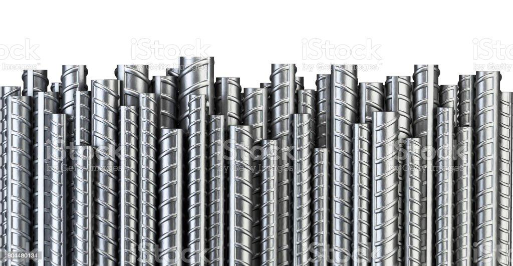 Reforços de aço barras em linha. Fundo industrial. Armadura do edifício. - foto de acervo