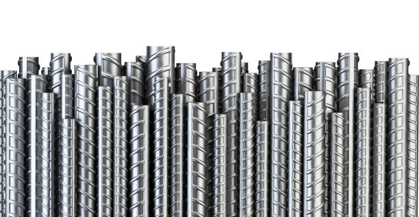 Reinforcements steel bars in row. Industrial background. Building armature. Reinforcements steel bars in row. Industrial background. Building armature. 3d illustration isolated on white. rod stock pictures, royalty-free photos & images