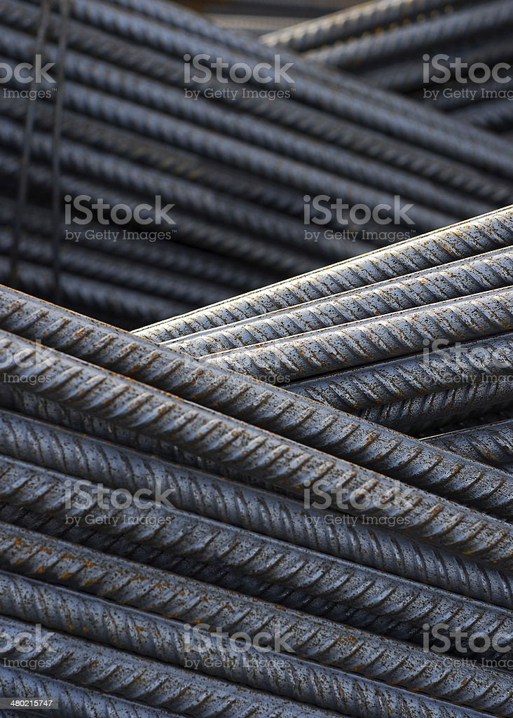 reinforcing steel on a construction site stock photo