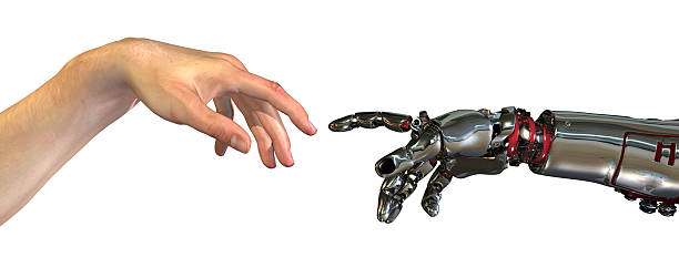 """Reinventing Ourselves Human and robot hands almost touching - 3D render. A modern take on the famous Michelangelo painting in the Sistine Chapel; titled 'The Creation of Adam"""" prosthetic hand stock pictures, royalty-free photos & images"""