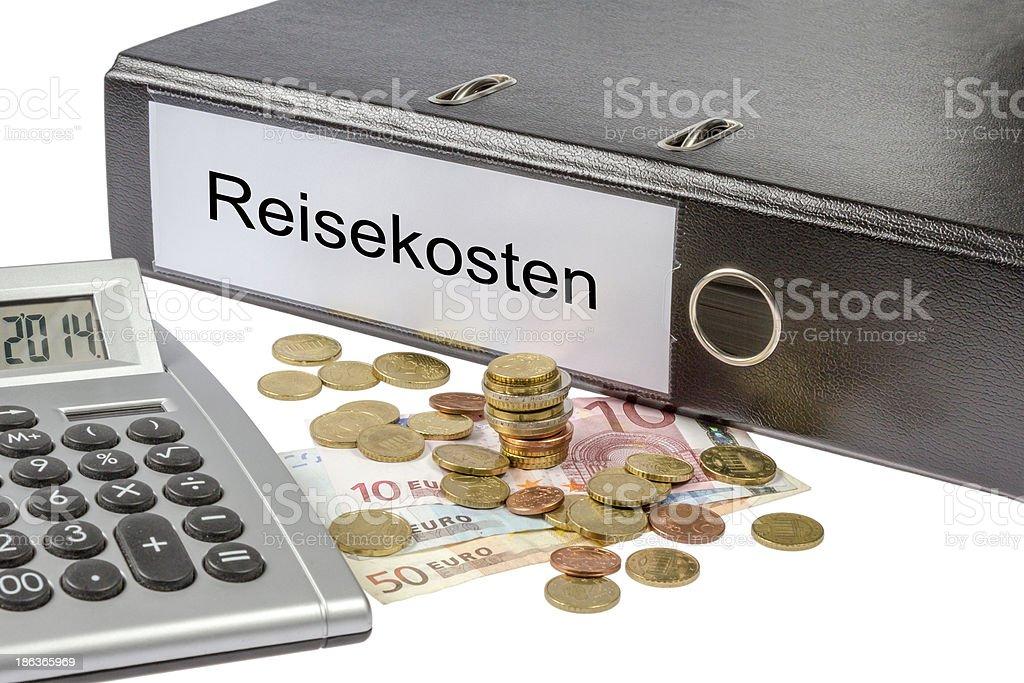 Reisekosten Binder Calculator and Currency royalty-free stock photo