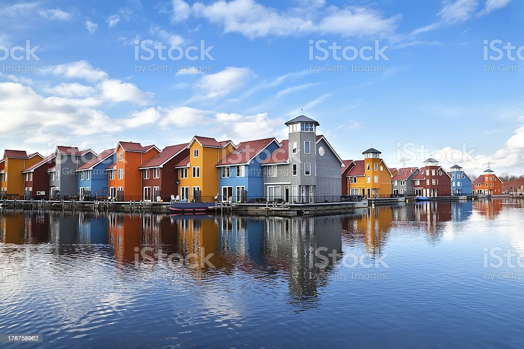 Reitdiephaven - colorful buildings on water stock photo