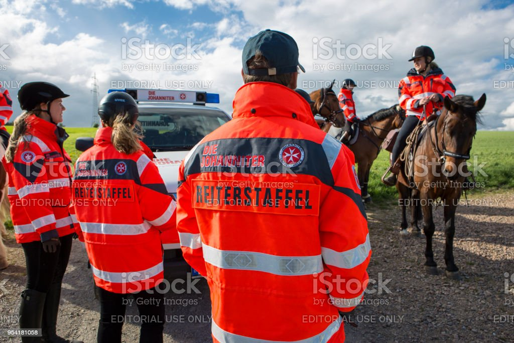 Members of Reiterstaffel of Johanniter-Unfall-Hilfe in Taunusstein,...