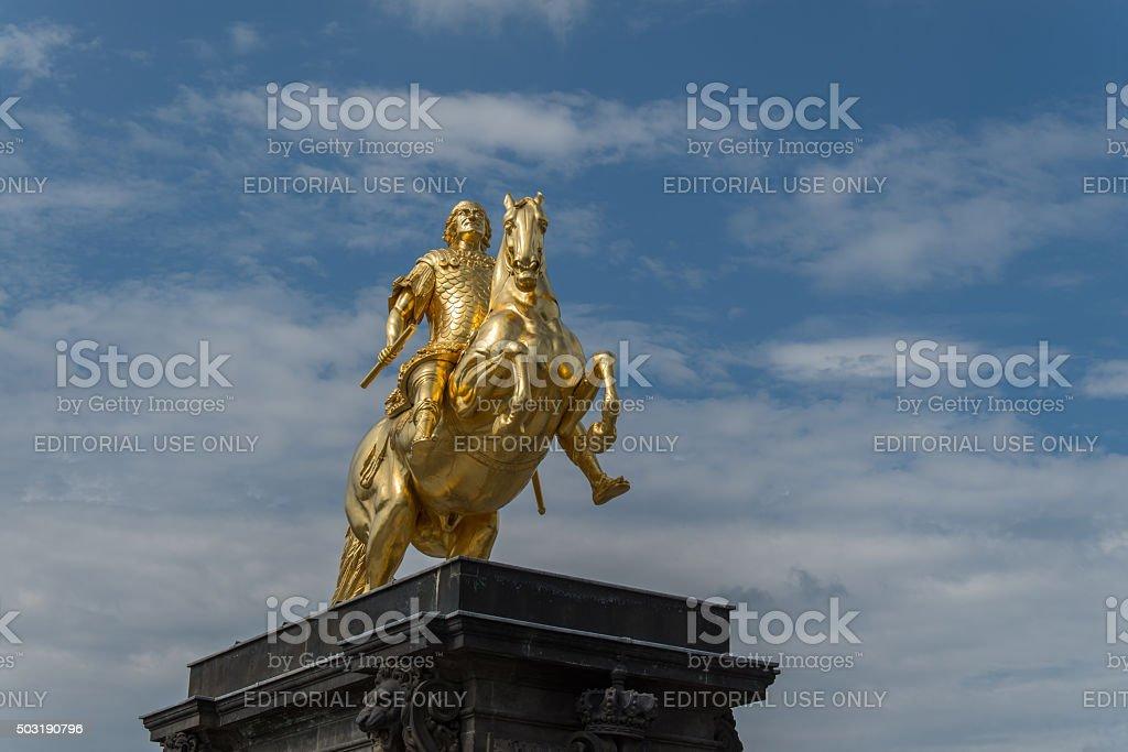 Reiterstandbild vor blauem Himmel stock photo