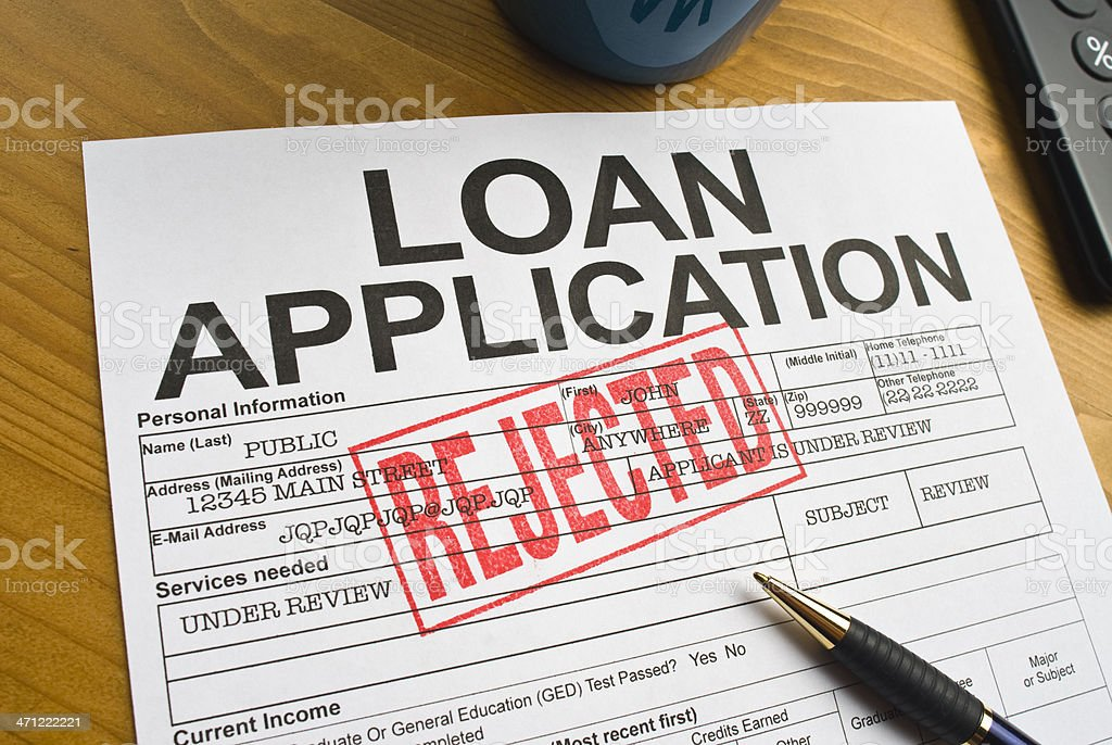 Rejected Loan Application stock photo