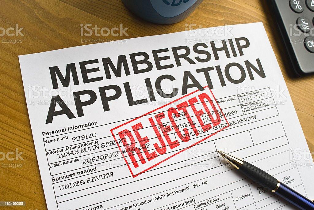 Rejected Membership Application stock photo