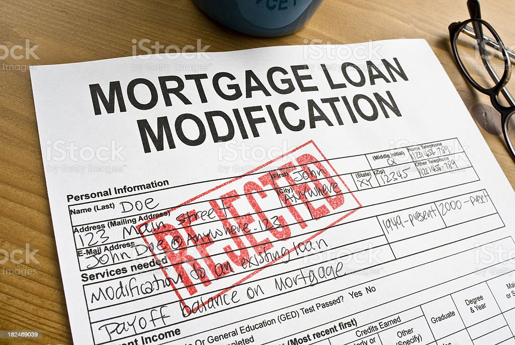 Rejected Mortgage Loan Modification royalty-free stock photo