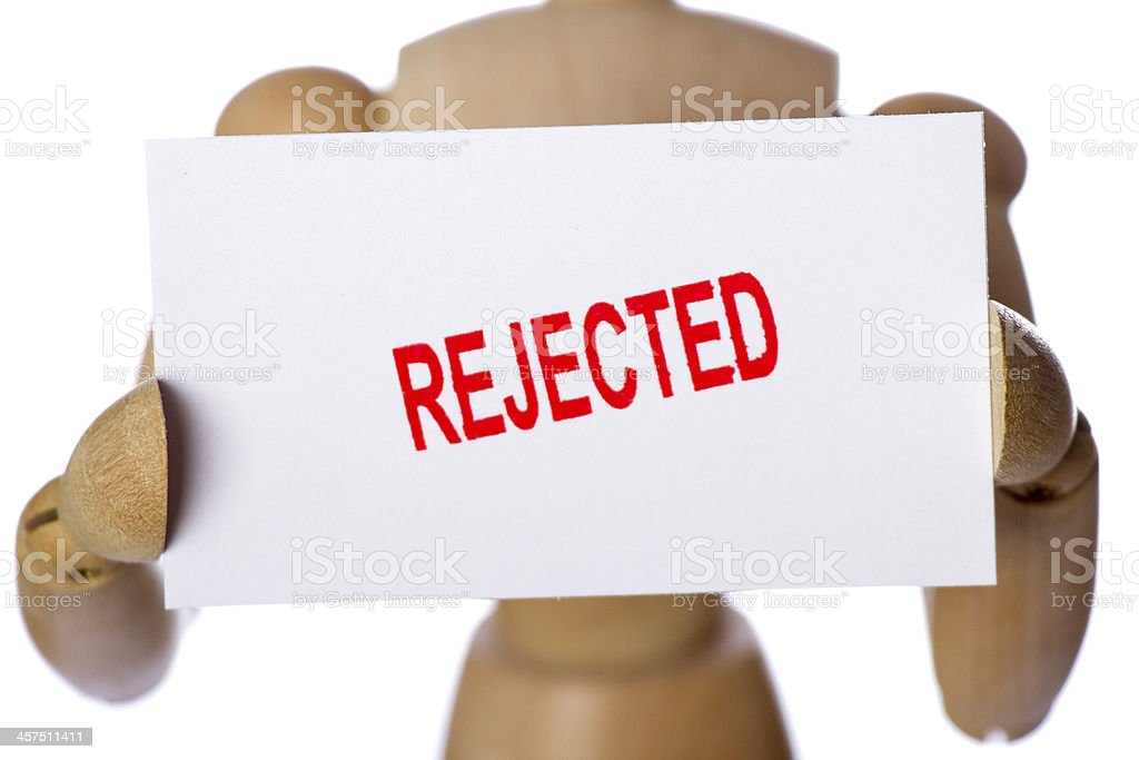 Rejected sign held by wooden mannequin royalty-free stock photo