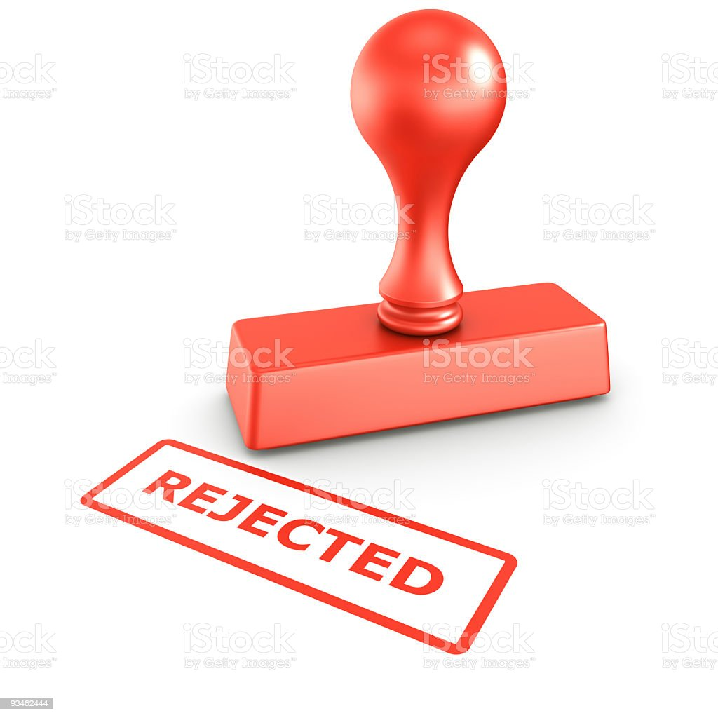 Rejected stamp stock photo