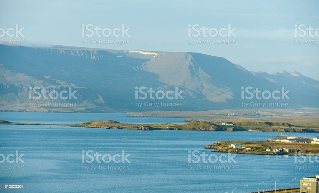 Rekjavik city landscape view from above stock photo