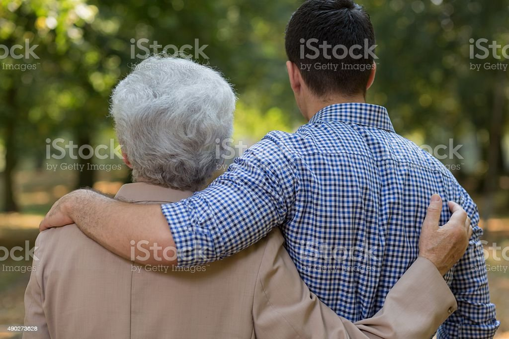 Relation between grandson and grandfather stock photo