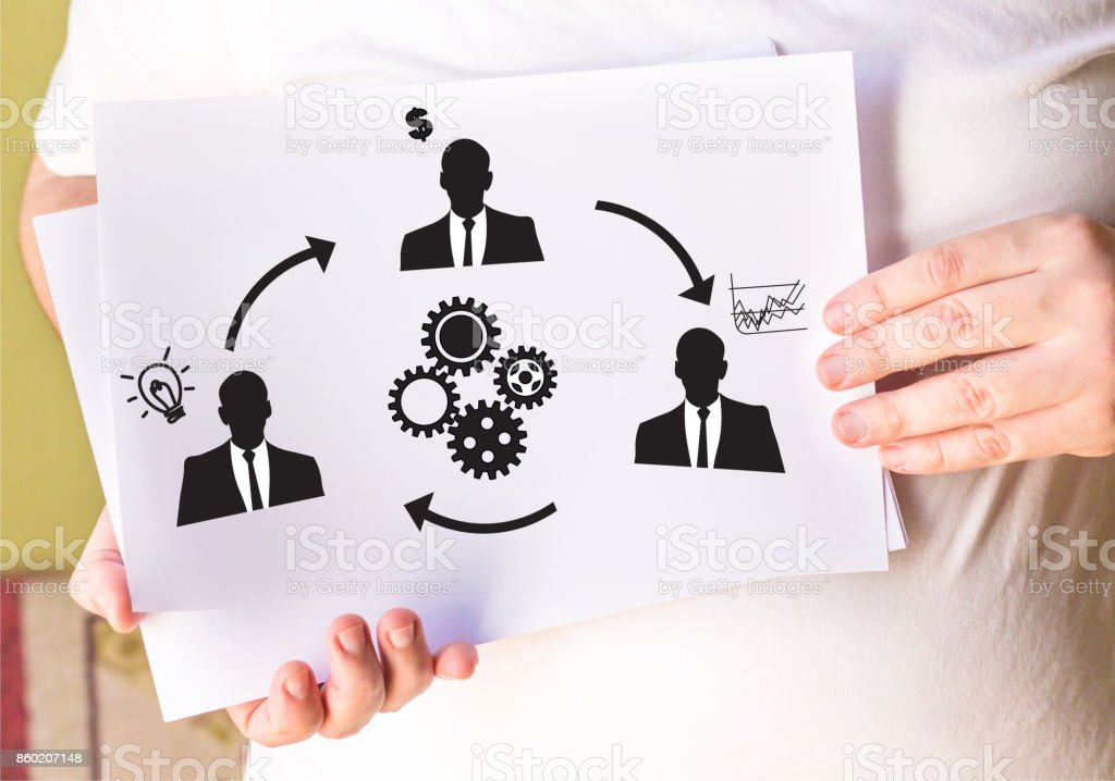 Relation of Business People icônes connexion on white paper stock photo