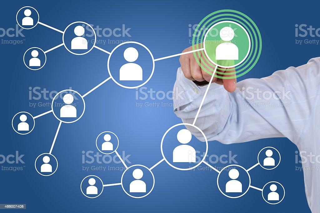 Las relaciones y los contactos en las redes sociales - foto de stock