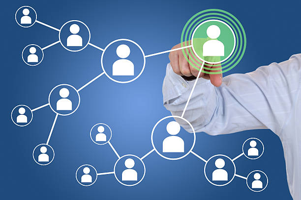 Relations and contacts in social network stock photo