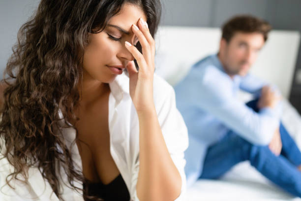 Relationship couple problems affecting sex drive as well stock photo