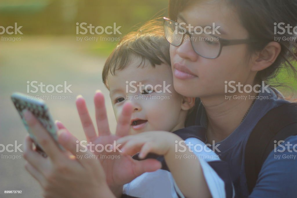 Relationship of mother and son stock photo