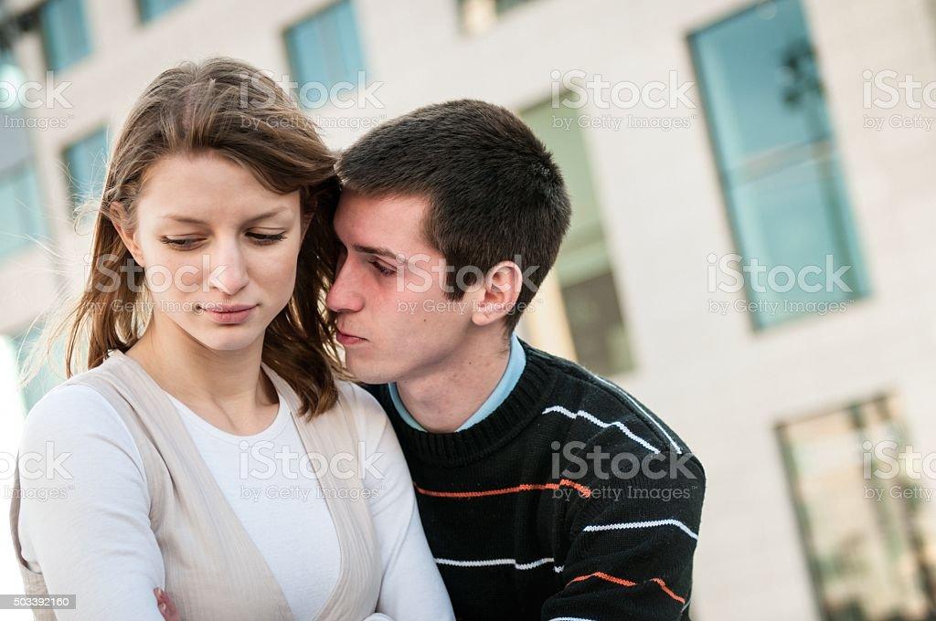 Relationship problem - couple portrait stock photo