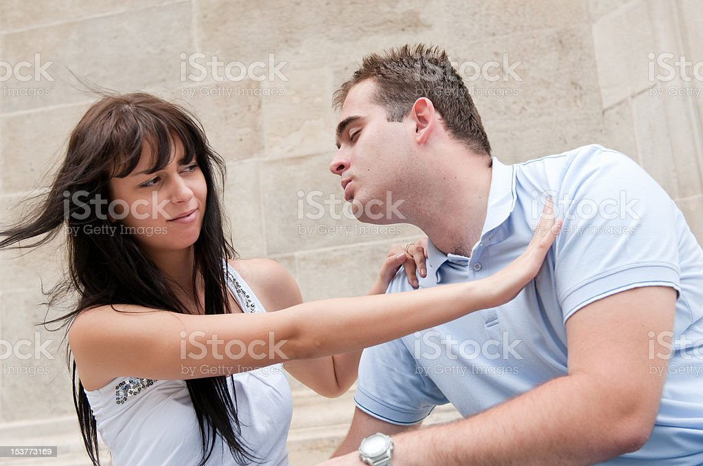 Relationship problems - young couple outdoors stock photo