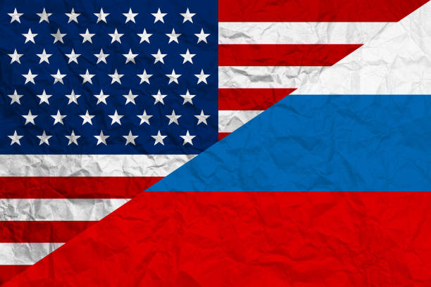 Relationship USA-Russia flags background stock photo