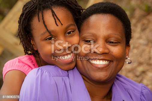 1091098026istockphoto Relationships: African descent mother and daughter hug outside. 515690375