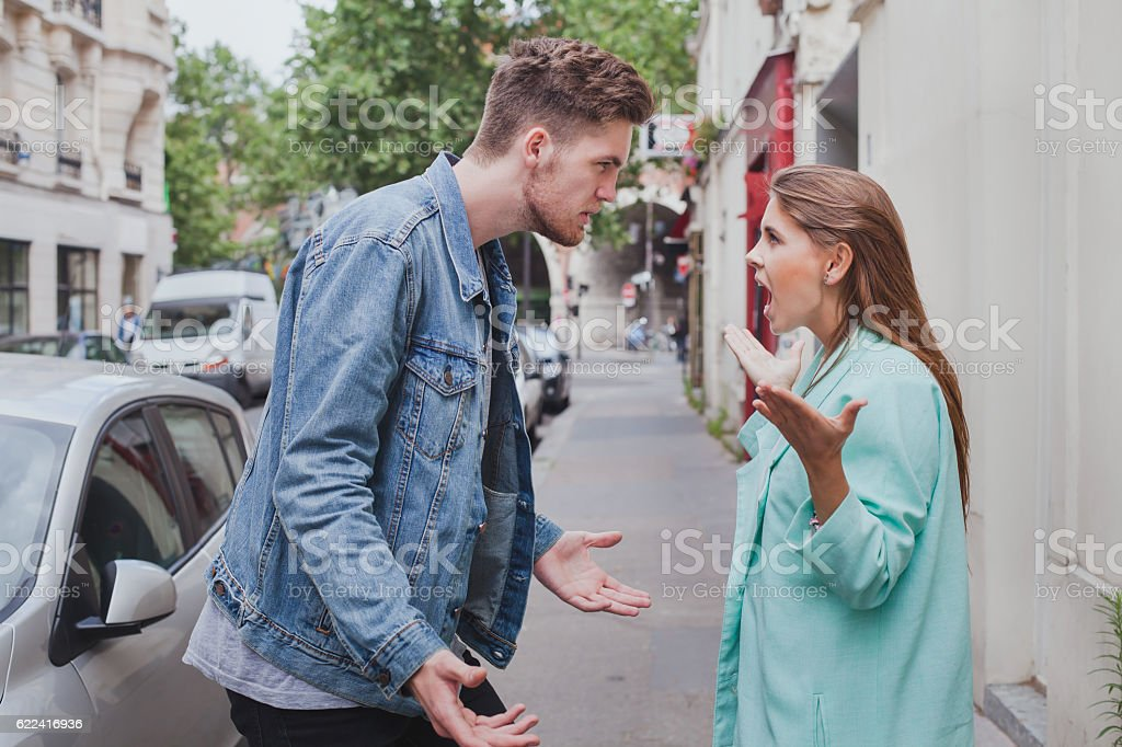 relationships difficulties, conflict in family, scandal stock photo