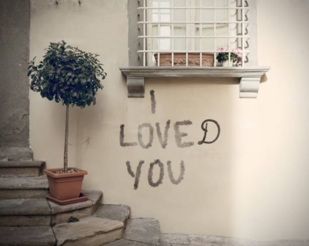 relationship's end expressed with a graffiti stock photo