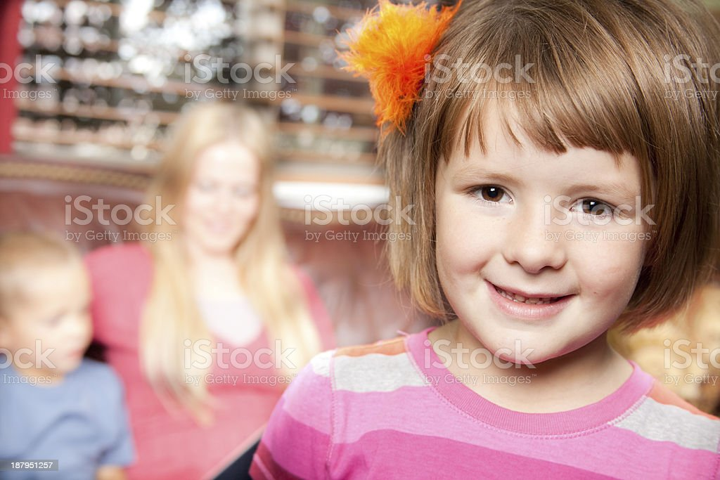 Relationships Little Girl Poses Mother Reads To Son Background Stock