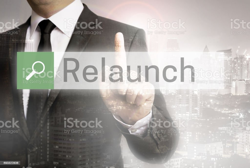 Relaunch browser with business man and city concept stock photo