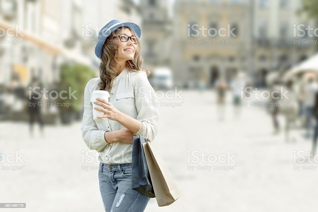 Relax after shopping. stock photo