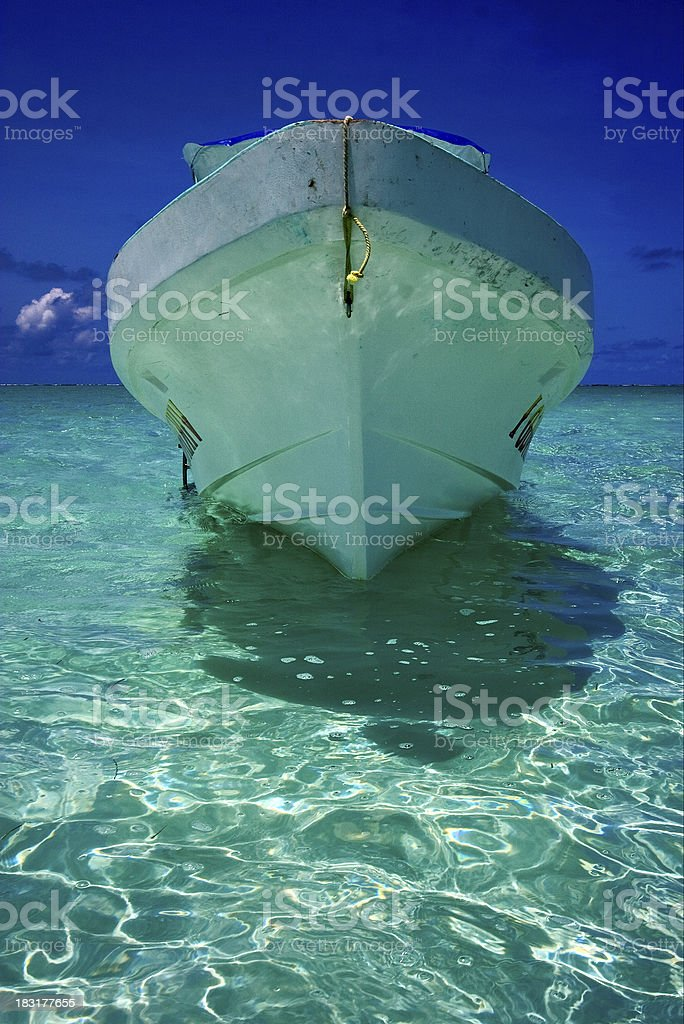 relax and boat  in the blue lagoon stock photo